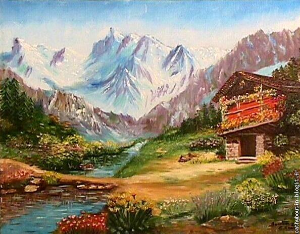 Dessin montagne stylise couleur decor accueil design et - Dessin de chalet de montagne ...